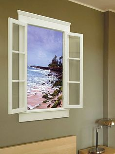 faux window - closed with shaded glass, bright blue sky with oak tree. backlit.