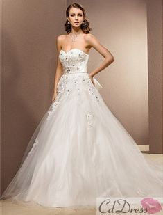 Ball Gown Sweetheart Satin And Tulle Floor-length Wedding Dress from CDdress.com
