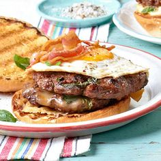 Double Cheeseburgers with Basil, Bacon, and Egg From Better Homes and Gardens, ideas and improvement projects for your home and garden plus recipes and entertaining ideas.