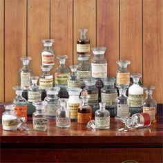 Apotheke Set of 24 Vintage Apothecary Jars Includes 4 Sizes (small imperfections, variation in shape and size are natural characteristics of Hand-Blown glass) -