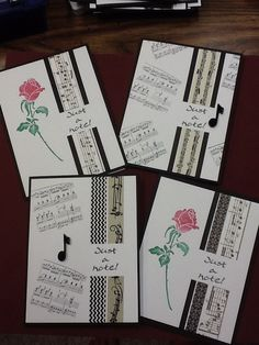 I made these just a note cards with washi tape. I will use some for birthdays and some as note cards. I like the music theme.