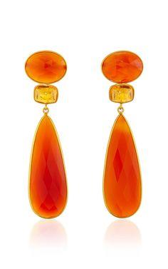 18K Yellow Gold Earstuds With Carnelian And Mandarin Garnet - Bahina Resort 2016 - Preorder now on Moda Operandi