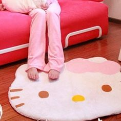 New Hello Kitty Fuzzy Floor Rug - Cute Floor Rug for bedroom (1pc)