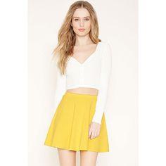 Forever21 Mini Skater Skirt ($5.90) ❤ liked on Polyvore featuring skirts, mini skirts, yellow, short skirts, flared skater skirt, elastic waist mini skirt, skater skirt and white skirt