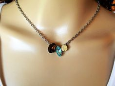 SOMEWHERE IN TIME, swarovski necklace, mixed stones, vintage look, brown, cream, blue,opal, navette, oval, chain, dksjewelrydesigns