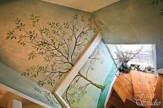 the Faux Studio: Tree Mural Wall 1 Yoga Room Decor, Wall Decor, Forest Theme, Faux Painting, Mural Wall Art, Yoga Art, Decoration, Tree Murals, Yoga Studios