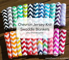 """Chevron Jersey Knit Light-Weight Swaddle/Receiving Blanket- Large 42""""x42"""" - YOU CHOOSE COLOR on Etsy, $15.00"""