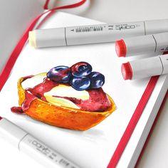 Sweet Wednesday #markers #markerart #copic #sketch #sketchaday #sketchbook #cookbook #recipejournal #foodillustration #Leuchtturm1917