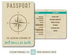 Custom Passport Wedding Program | Printable Wedding Travel themed Program | Custom Program for Destination Wedding. Click through to find matching games, favors, thank you cards, inserts, decor, and more. Or shop our 1000+ designs for all of life's journeys. Weddings, birthdays, new babies, anniversaries, and more. Only at Aesthetic Journeys