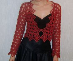 Red Color, Crochet Top, Dresses With Sleeves, Blouse, Long Sleeve, Inspiration, Ideas, Tops, Women