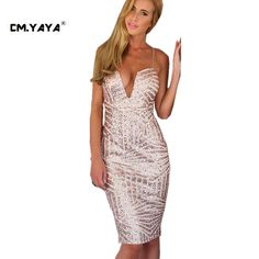 CMYAYA 2016 New Women Sexy Summer Pink Sleeveless Spaghetti Strap Plunging V-Neck Sequined Bodycon Knee-Length Dress at our web shop http://www.aliexpress.com/store/536244