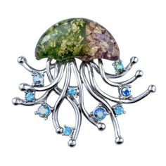 Pugster Jellyfish Brooches And Pins Pugster. $15.89. Occasion: casual wear,anniversary, bridal, cocktail party, wedding. Money-back Satisfaction Guarantee.. Exquisitely detailed designer style with Swarovski cystal element.. Can be pinned on your gown or fastened in your hair with bobby pins.. One free elegant cushioned Gift box available with every order from Pugster.