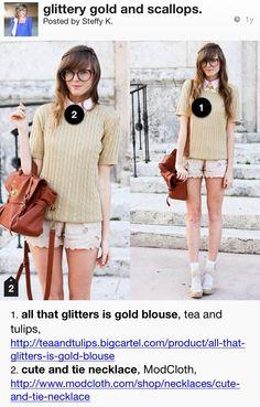 Lookbook glittery gold and scallops modclothdotcom teaandtulips