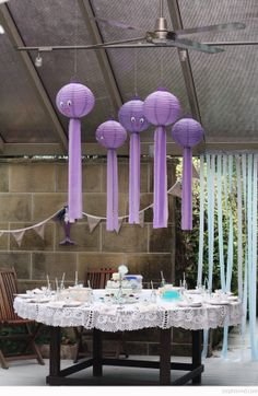 Bondville: Our Birthday Mermaid Tea Party - DIY Purple hanging octopuses Bond-Hutkin Eid Party, Tea Party Birthday, Mermaid Birthday, Girl Birthday, Purple Birthday, Birthday Stuff, Birthday Ideas, Little Mermaid Parties, Under The Sea Party