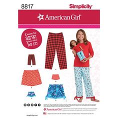 Girl and American Girl Doll Lounge Pants & Shorts - Simplicity Sewing Pattern 8817 Easy Sewing Patterns, Vogue Patterns, Simplicity Sewing Patterns, Doll Clothes Patterns, Girl Doll Clothes, Vintage Sewing Patterns, Clothing Patterns, Girl Dolls, Lounge Pants