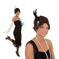 This  Flapper Headband  helps create the look of a real 1920s flapper complete with black feathers, silver beads and satin. Each satin feathered headband is elastic and fits most.