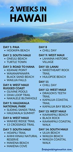 Things to do with 2 weeks in Hawaii. US vacation spots