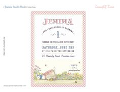 Jemima Puddle Duck (Beatrix Potter) - Custom Printable Invitation - First Birthday, Baby Shower, Sip & See, Easter.. $15.00, via Etsy.