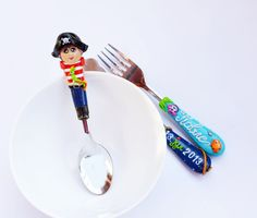Baby boy Cutlery Set Pirate Red Blue Spoon Fork Knife Personalized Name Date Sea life Toddler Cute Gift Polymer clay Silverware Set
