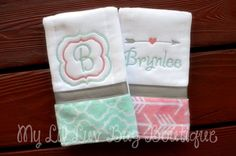 This is a set of 2 mixed burpcloths with a minky lattice/trellis print on one in mint (opal) on one and an arrow print minky in coral and white on the other. They are made from premium 6PLY prefold diapers (not the cheap birdseye ones) Both have the super soft grey and white chevron print minky at the bottom with light baby pink grosgrain ribbon. I can do these in ANY COLOR ribbon you like from the ribbon color chart...just let me know in the notes to seller during checkout. Available ribbon…