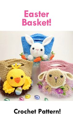 More crochet patterns for sweet, cute and awesome Easter baskets! Easter Egg Basket, Easter Crochet Patterns, Holiday Crochet, Knitted Animals, Amigurumi Doll, Crochet Projects, Diy Projects, Crochet Toys, Holiday Crafts