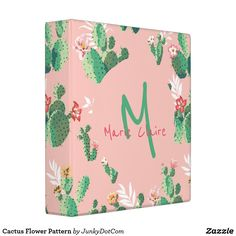 Cactus Flower Pattern 3 Ring Binder April 23 2017 #spring #junkydotcom Project Vibrancy Meals?