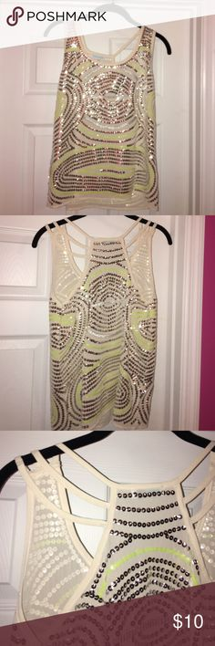 Small Jun & Ivy sequin tank top from Buckle Neon yellow and silver sequins with fun straps on the back shoulders. Never worn. Tops Tank Tops