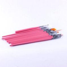 Ostart 15 Pcs Nail Art Tool Manicure Pedicure Brush Set Kit- Pink