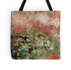 """Abstract art coral green"" Tote Bags by floraaplus 