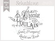 Vintage Schablone * Chocolat * French Shabby Look von Basket & Pillow auf DaWanda.com