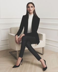 || Classic Black Blazer • Sweater • Black Trouser • Black Stilettos ||
