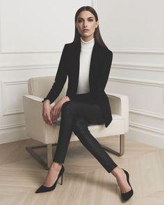 || Classic Black Blazer • Sweater • Black Trouser • Black Stilettos ||