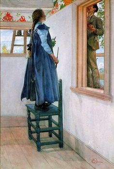 I really liked this painting! The man is painting the outside of the house (we see him thru the window) and the girl is also painting, inside the house. She is painting a decorative border around the room. :) Painting by Carl Larsson Carl Larsson, Carl Spitzweg, Illustrations, Illustration Art, Swedish Style, Swedish Decor, Scandinavian Art, Arts And Crafts Movement, Large Painting