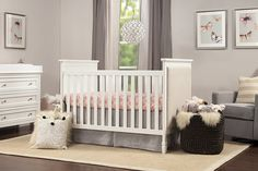 The DaVinci Lila Convertible Crib combines enduring functionality with classic design. The Lila features lush upholstered side panel detailing and delicate tapered feet. Rustic Crib, Rustic Bedding, Rustic Baby, Baby Furniture Sets, Toddler Furniture, Furniture Sale, Furniture Design, Ottoman Furniture, Wood Furniture