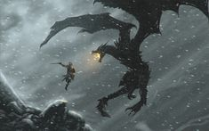 video games mountains snow dragons fire weapons snowflakes artwork skyscapes swords The Elder Scrolls V: Skyrim dovahkiin dragonborn Alduin  / 1920x1200 Wallpaper