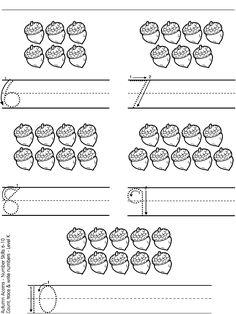math worksheet : acorn numbers 1 5  autumn  pinterest  number worksheets  : Numbers 6 10 Worksheets For Kindergarten