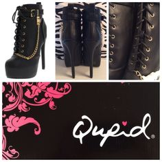 """⚡️Flash Sale $38 ⚡️            ⚡️NWT... $65⚡️ Made by: Qupid  Sexy Black/Gold Tone Booties! Size 6 named Ravish These are a Lace up design however they have an inside zipper for easy on /off. the Heel Measures approximately 5.5"""". NEW sweet little head turners!! Thank you for browsing my closet. Qupid Shoes Ankle Boots & Booties"""