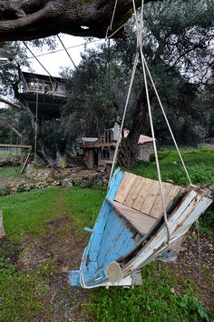 Olive tree house and small stone house into the Ionian olive grove Wood Artwork, Olive Tree, Porch Swing, Outdoor Furniture, Outdoor Decor, Hammock, Artworks, Greece, Stone