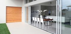 Trend Windows & Doors Has A Great Range Of Quantum Sliding Stacking Door And Many Other Windows And Doors. Bifold Doors Onto Patio, White Bifold Doors, Aluminium Sliding Doors, Sliding French Doors, Sliding Door Design, Sliding Glass Door, Stacker Doors, Glass Extension, Extension Ideas