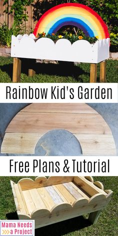 Build this amazing toddler garden box to provide endless hours of activities and play for your kids! Free woodworking plans walk you through building this Rainbow Toddler Garden. This is the perfect p Outdoor Projects, Garden Projects, Wood Projects, Rainbow Garden, Magic Garden, Outdoor Classroom, Garden Boxes, Diy Garden Box, Kid Garden