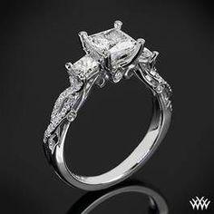 Verragio Twisted Shank Princess 3 Stone Engagement Ring #Whiteflash #Verragio
