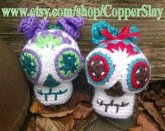 Sugar Skull Baby SugarSpun Skullz crochet pattern (Faster and Easier) by CopperSlay Day of the Dead Halloween crochet ornament decor doll