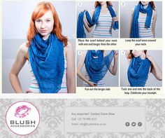 How to tie a long scarf - try these easy steps. Remember to pop into your nearest Blush store for our fabulous scarves instore! Long Sides, Long Scarf, Timeline Photos, Scarves, Blush, Celebrities, Easy, Clothing, Jewelry