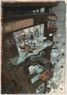 by Serge Pelle . Cyberpunk City, Ville Cyberpunk, Cyberpunk Kunst, Cyberpunk 2077, Comics Illustration, Illustrations, Fantasy Kunst, Fantasy Art, Art Environnemental