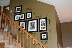 wall photos collaged with words | wall collage with word decals | Photo Ideas