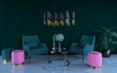 Pink and green Lounge area. 3d Interior Design, Interior Rendering, Green Lounge, Lounge Areas, Pink And Green, Design Ideas, Projects, Log Projects, Living Rooms