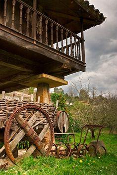 Spain, Asturias parte baja;se guardaban los aperos de labranza,para trabajar la tierra.