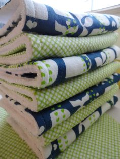 Flannel and Terry Burp Cloths - $3 for 12 beautiful burp cloths