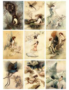 Free Printable! Antique Fairy Cards.