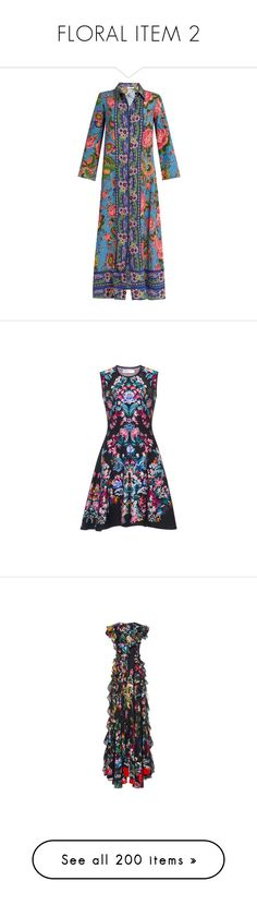 """""""FLORAL ITEM 2"""" by jckyleeah ❤ liked on Polyvore featuring floral, dresses, blue multi, floral dresses, floral printed dress, blue dress, bohemian dresses, embroidered dress, outerwear and jackets"""
